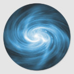 Icy Blue Nebula Wave Classic Round Sticker
