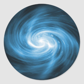 Icy Blue Nebula Wave Classic Round Sticker