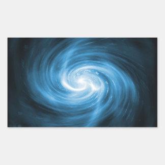 Icy Blue Nebula Wave Rectangular Sticker