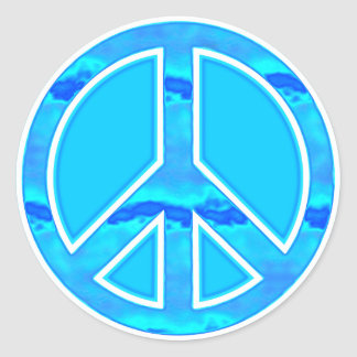 Icy Blue Peace Round Stickers