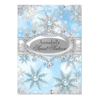 Icy Blue Princess Winter Wonderland Sweet 16 Card