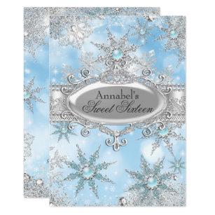 5651c15fe95e Icy Blue Princess Winter Wonderland Sweet 16 Invitation