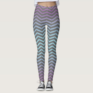 Icy Blue, Purple, Gray Chevron Pattern Art Design Leggings