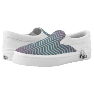 Icy Blue, Purple Grey Chevron Pattern Art Design Slip-On Sneakers