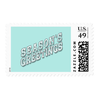 Icy Blue Retro Season's Greetings Postage Stamps