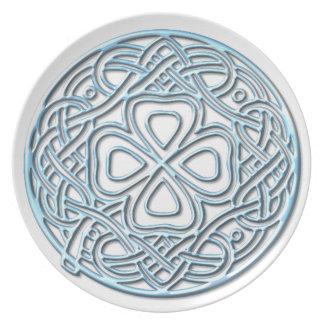 Icy Blue Shamrock Melamine Plate