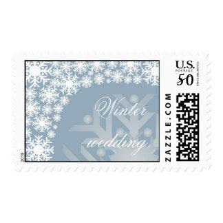 Icy Blue Snowflakes - Winter wedding stamp