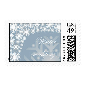 Icy Blue Snowflakes - Winter wedding stamp