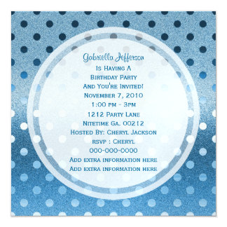 Icy Blue Sparkle: Polka-dots: Party Invitation