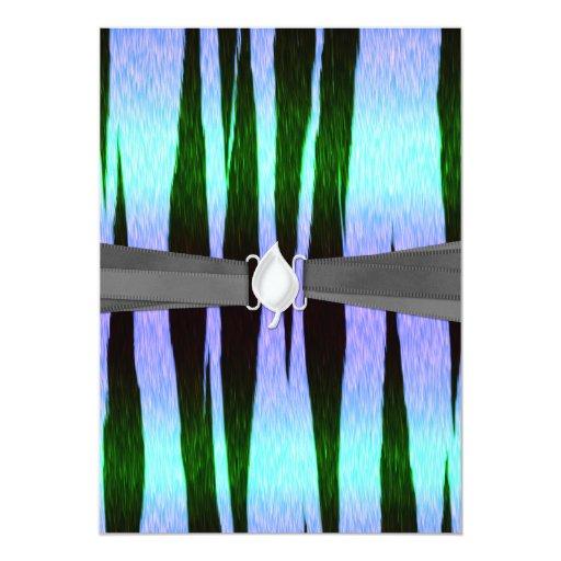 icy blue tiger stripes animal print pattern 5x7 paper invitation card