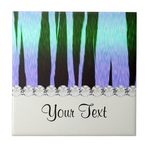icy blue tiger stripes animal print pattern small square tile