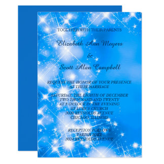 Icy Blue Winter Stars Formal Wedding Invitation