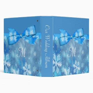 Icy Blue Winter Wonderland Wedding 3 Ring Binder