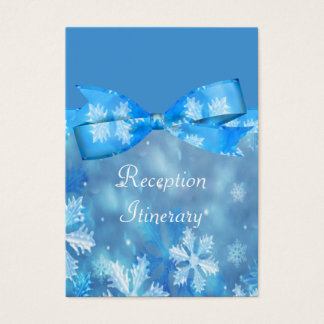Icy Blue Winter Wonderland Wedding Business Card