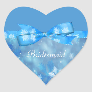 Icy Blue Winter Wonderland Wedding Heart Sticker