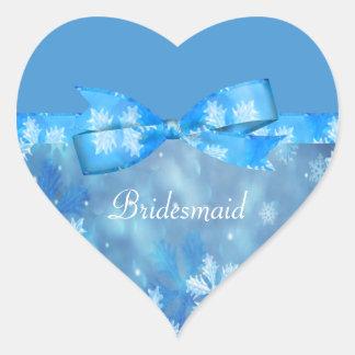 Icy Blue Winter Wonderland Wedding Heart Sticker