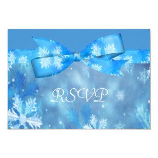 Icy Blue Winter Wonderland Wedding 3.5x5 Paper Invitation Card