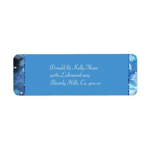 Icy Blue Winter Wonderland Wedding Custom Return Address Labels