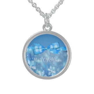 Icy Blue Winter Wonderland Wedding Sterling Silver Necklace