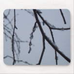 Icy Branches Abstract Winter Nature Photography Mouse Pad