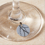 Icy Branches II Abstract Winter Nature Photography Wine Glass Charm