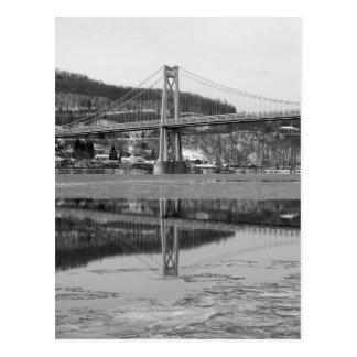 Icy Bridge Tower Reflection Postcard