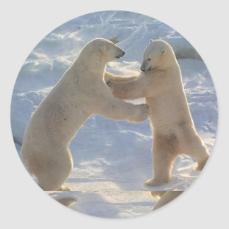 Icy  Dancing Bears Round Sticker