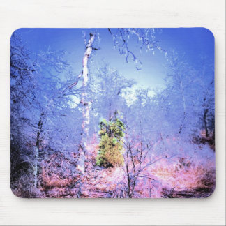 Icy Dead Tree with Evergreen Mouse Pad