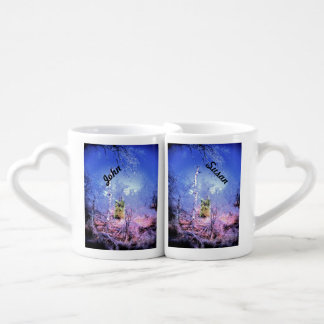 Icy Dead Tree with Evergreen Couples' Coffee Mug Set