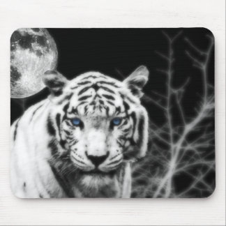 Icy Eyed White Tiger Mouse Pad