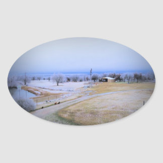 Icy Farm Oval Sticker