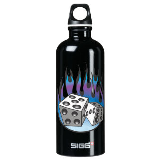 Icy Flaming Dice Aluminum Water Bottle