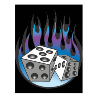 Icy Flaming Dice Postcard
