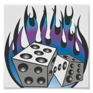 Icy Flaming Dice Print