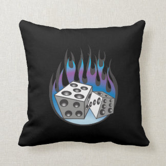 Icy Flaming Dice Throw Pillow