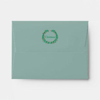 Icy Frozen Winter Blue w/ Green Wreath & Red Berry Envelope