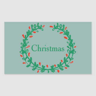 Icy Frozen Winter Blue w/ Green Wreath & Red Berry Rectangular Sticker