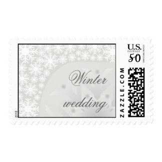 Icy Gray Snowflakes - Winter wedding stamp