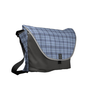 Icy Gray Squares Patterned Messenger Bag