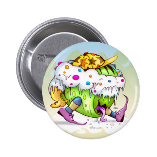 ICY JUICY ALIEN MONSTER CARTOON  FUNNY BUTTON