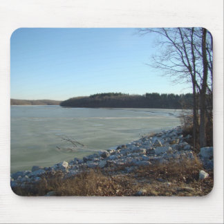 Icy Lake and Rocky Shore Mouse Pad