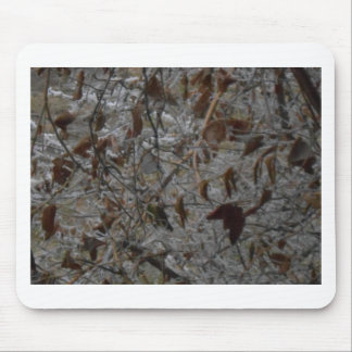 Icy Leaves Mouse Pad