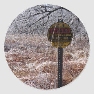 Icy Petroleum Pipeline Warning Classic Round Sticker