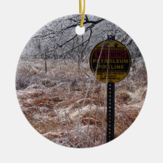 Icy Petroleum Pipeline Warning Double-Sided Ceramic Round Christmas Ornament