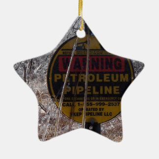 Icy Petroleum Pipeline Warning Double-Sided Star Ceramic Christmas Ornament