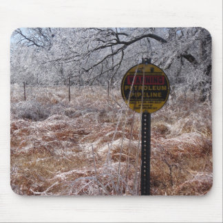 Icy Petroleum Pipeline Warning Mouse Pad