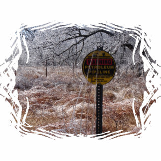 Icy Petroleum Pipeline Warning Photo Sculpture Keychain