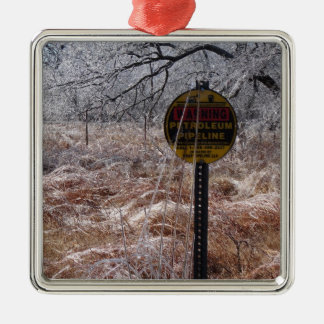Icy Petroleum Pipeline Warning Square Metal Christmas Ornament