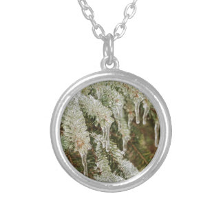 Icy Pine Needles Silver Plated Necklace