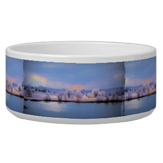 Icy Pond and Willows in Pastel Dog Bowls